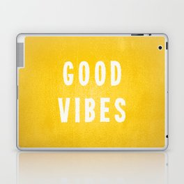 Sunny Yellow and White Distressed Effect Good Vibes Laptop & iPad Skin