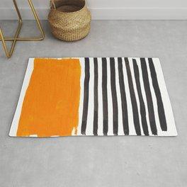 Minimalist Mid Century Mango Shade Black Lines Sunset Landscape Fun Rug