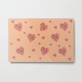 Hearts bloomimg on Peach Metal Print