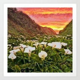 'Calla Lily Sunrise at Big Sur' Portrait Painting by Jeanpaul Ferro Art Print