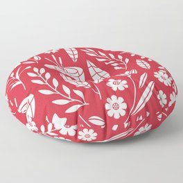 Blooming field - red Floor Pillow