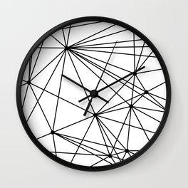 White & Black geometric web Wall Clock