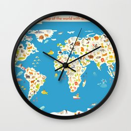 Map of the World with animals. Beautiful colorful vector illustration. Wall Clock