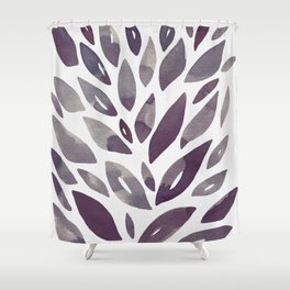 Watercolor floral petals - purple and grey Shower Curtain