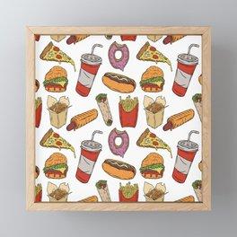 Fast Food Pattern Framed Mini Art Print