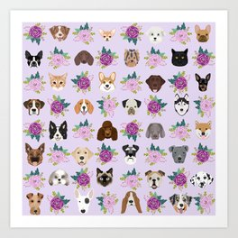 Dogs and cats pet friendly floral animal lover gifts dog breeds cat person Art Print
