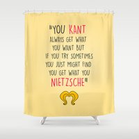 hedwig Shower Curtains featuring Hedwig, Kant & Nietzsche by byebyesally