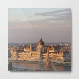 Budpest Sunset over Parliament Metal Print