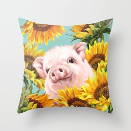 Baby Pig with Sunflowers in Blue Throw Pillow