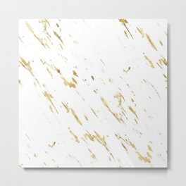 Gold White Marble - Trendy Yellow Gold Marble Metal Print
