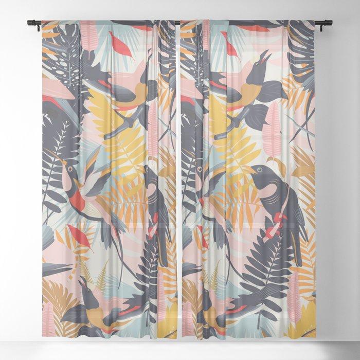Paradise Birds II. Sheer Curtain