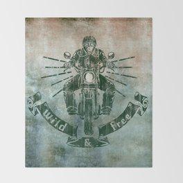 Wild and Free Motorbike Rider Throw Blanket