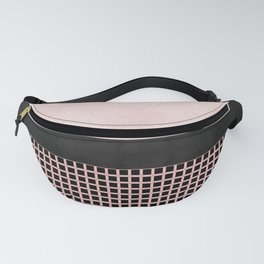 Textured Pink Design With Black Checkered Pattern Fanny Pack