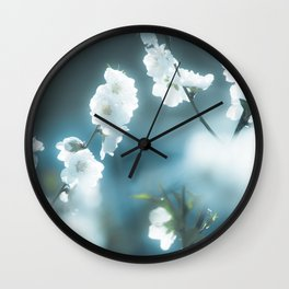 Snowy Blossoms Wall Clock