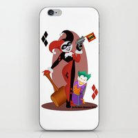 harley quinn iPhone & iPod Skins featuring Harley Quinn  by Katie Simpson a.k.a. Redhead-K