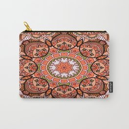 Zen Doodle Mandala In Corals and Browns Carry-All Pouch