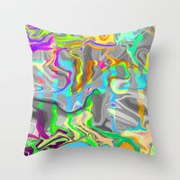 trippy Throw Pillows featuring Trippy by Calepotts