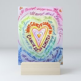 Rainbow Heart Colorful What Cancer Cannot Do Poem Mini Art Print