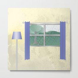 Rainy window view Metal Print