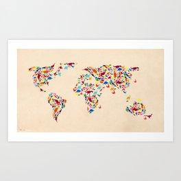 map dinosaur Art Print