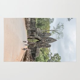 Angkor Thom South Gate with Tourists on Bikes, Cambodia Rug