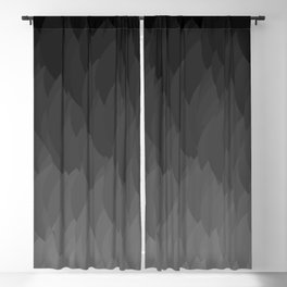 Fade to black ombre flame gradient grayscale pattern Blackout Curtain