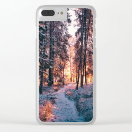 Burning bright winters day Clear iPhone Case