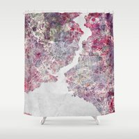 istanbul Shower Curtains featuring Istanbul Map by MapMapMaps.Watercolors