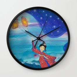 Japanese Geisha in Kimono with Flying Lanterns in the Sky Wall Clock