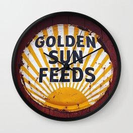 Golden Sun Feeds Wall Clock
