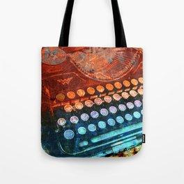 Typewriter Blue Red PopArt Tote Bag