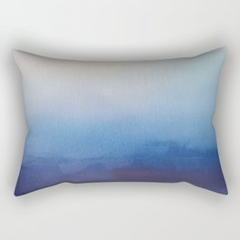 Ocean Mist - Abstract Watercolor Painting Blue and White Rectangular Pillow