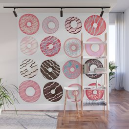 Vector pattern with sweet pink donuts design Wall Mural