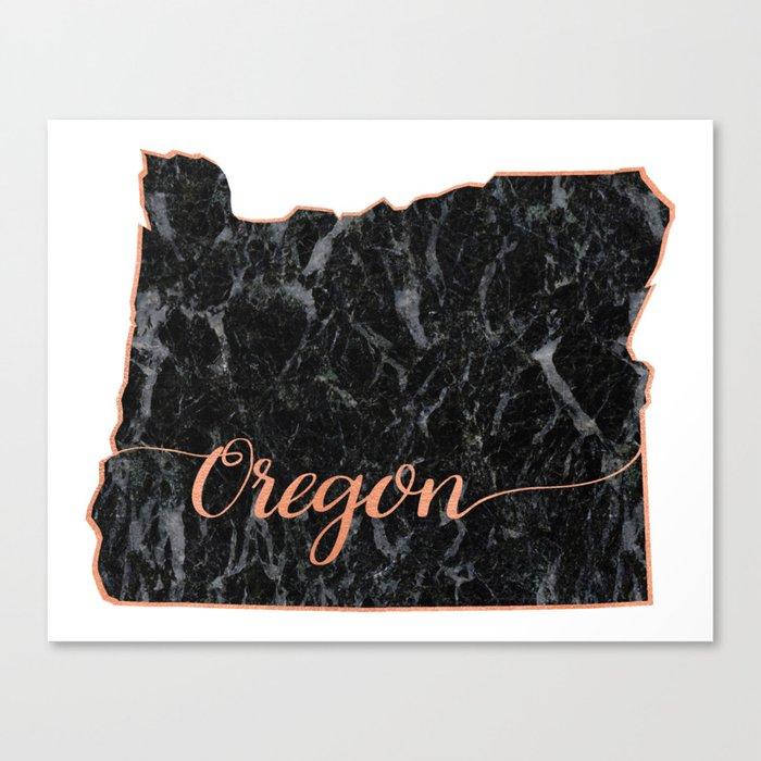 Oregon Rosegold Marble Map Outline Canvas Print
