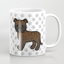 Brindle English Staffordshire Bull Terrier Cartoon Dog Coffee Mug