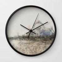 santa monica Wall Clocks featuring Scribbled Santa Monica Pier by Christine aka stine1
