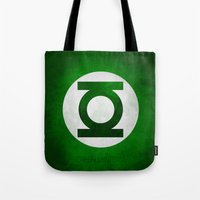 green lantern Tote Bags featuring Green Lantern by whosyourdeddy