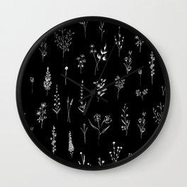 Black wildflowers Wall Clock