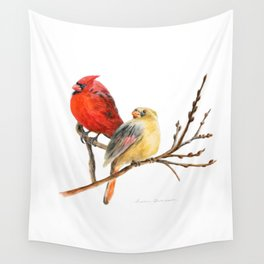 The Perfect Pair - Male and Female Cardinal by Teresa Thompson Wall Tapestry