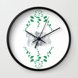 Koalas in Eucalyptus Wall Clock