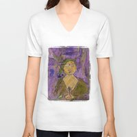 queer V-neck T-shirts featuring Queer Buddha ~ Invocation  by Jamila