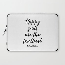 Happy Girls, Are The Prettiest, Happiness Quote, Printable Wall Art Audrey Hepburn Quote, Audrey Hep Laptop Sleeve