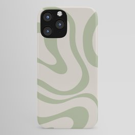 Liquid Swirl Abstract Pattern in Almond and Sage Green iPhone Case