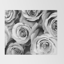 Black and White Roses Throw Blanket