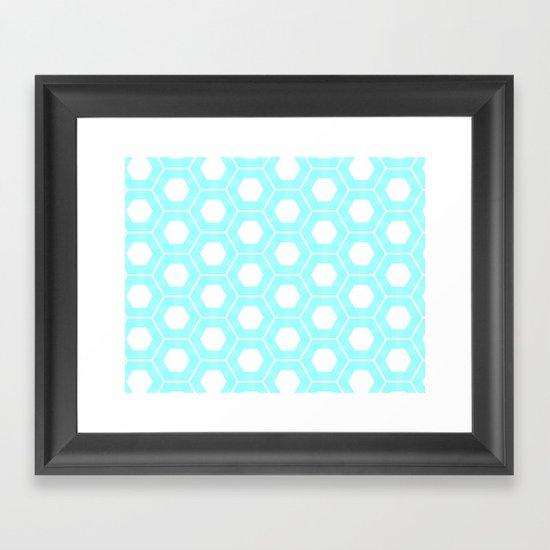 Nieuwland Powder Blue Hexagons Pattern Framed Art Print
