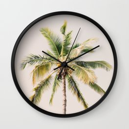 Palm tree - beige minimalist tropical photography in hd Wall Clock