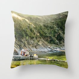Local Bolivian Women on Isla Del Sol on Lake Titicaca, Bolivia Throw Pillow