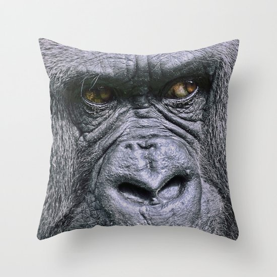 Portrait of a female Gorilla Throw Pillow