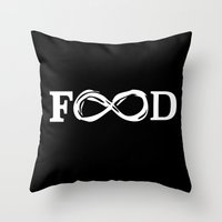 food Throw Pillows featuring Food by Poppo Inc.
