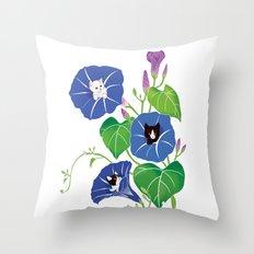 PeekABoo Cats in Flowers Morning Glory Throw Pillow